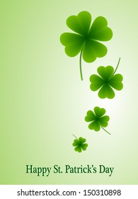 leaf clover on a green background for a Happy St  Patrick s Day