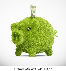 Leaf covered piggy bank - ecology and savings concept