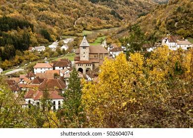 leaf fall in autum in Ochagavia village Navarra