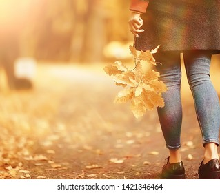 leaf fall autumn / fallen yellow leaves in the hands of a single girl walking in the park, concept autumn melancholy mood