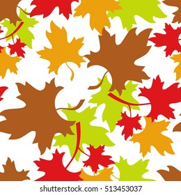Leaf fall. Autumn seamless pattern with colorful maple leaves. Raster clip art.