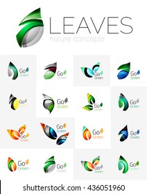 Leaf logo set. collection of abstract geometric design futuristic leaves - go green logotypes. Created with color overlapping geometric elements - waves and swirls. Shiny and glossy effects