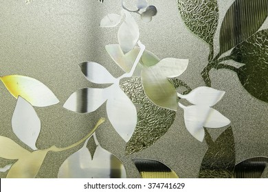 leaf pattern on frosted glass