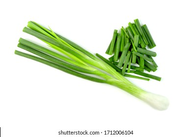 leaf spring onion isolated on white background ,Green leaves pattern