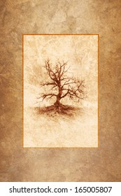 Leafless winter tree rendered as antique sepia tone print framed against a warm autumn texture background.