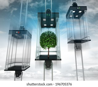 leafy tree in the middle elevator as vertical transport concept illustration