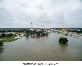 LEAGUE CITY, TX AUGUST 27th 2018: An aerial view of  flooded cars and cars driving over i45 near 518
