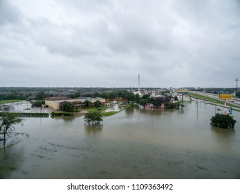 LEAGUE CITY, TX AUGUST 27th 2018: An aerial view of  flooded cars, businesses, and homes over i45 near 518