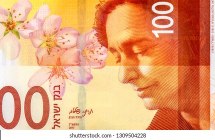 Leah Goldberg, Hebrew poet and almond flower  from 100 shekels bank note of Israel. shekels is the national currency of Israel, Close Up UNC Uncirculated - Collection