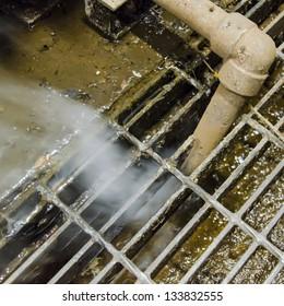 Leakage of steam, blowndown from boiler
