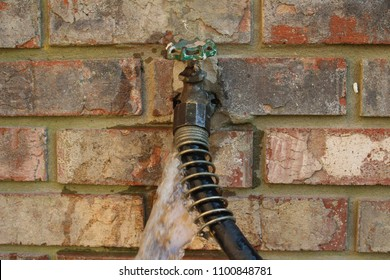leaking outdoor faucet - spigot and hose