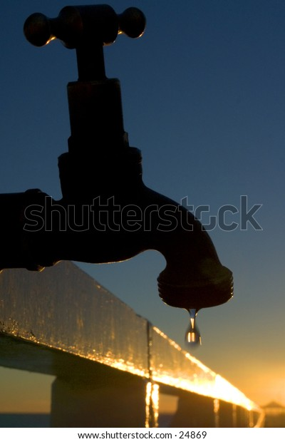 Leaking tap at Shorncliffe Pier at sunrise
