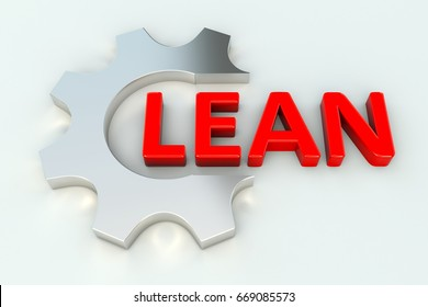 LEAN gear wheal white background 3d illustration