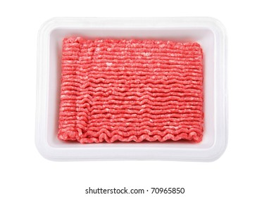 Lean ground beef in white Styrofoam meal box
