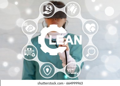 Lean Health Care Concept. Doctor touched gear lean icon on virtual screen.