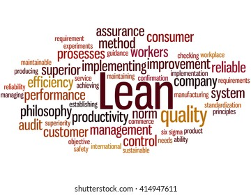 Lean - management approach, word cloud concept on white background.