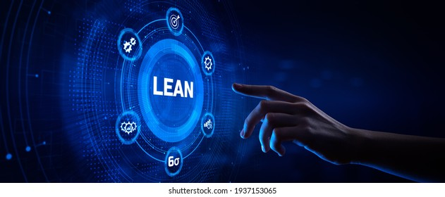 Lean manufacturing DMAIC Six sigma technology concept. Hand pressing button on screen.