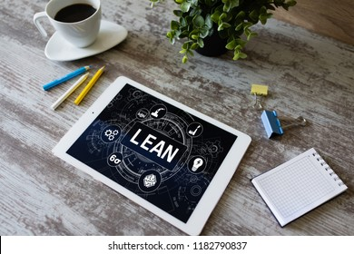 Lean manufacturing. Six sigma technology and business concept.