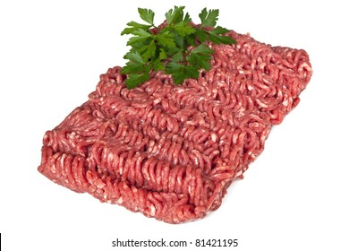 Lean raw minced meat, isolated on white background.