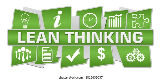 Lean thinking text written over green  background.