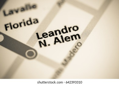 Leandro N. Alen Station. Buenos Aires Metro map.