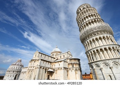 Leaning Tower and the famous cathedral of Pisa, Italy. Famous landmark, inscribed on UNESCO World Heritage List.