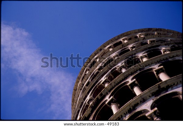 The leaning tower of pisa from below