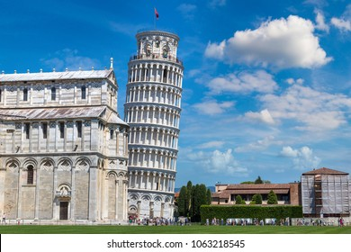 Leaning tower and Pisa cathedral in a summer day in Pisa, Italy in a beautiful summer day