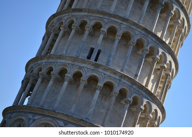 Leaning Tower of Pisa - details Tuscany. Italy.