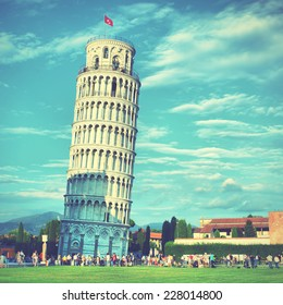 Leaning Tower of Pisa, Italy. Instagram style filtred image