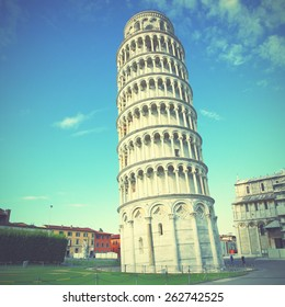 The Leaning Tower of Pisa in Italy. Instagram style filtred image