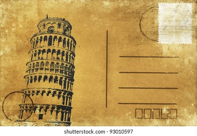 Leaning Tower of Pisa on old postal card ,retro style