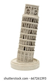 Leaning tower of Pisa souvenir isolated on white