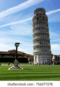 The Leaning Tower of Pisa with the Wolf of Rome column.
