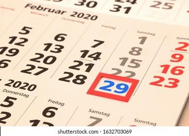 Leap day 29 February 2020, calendar sheet