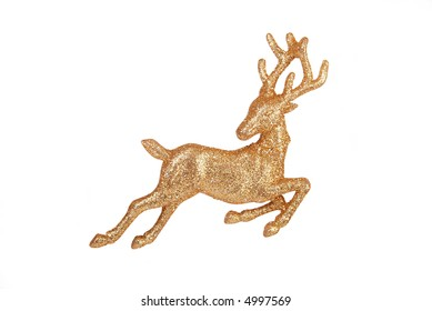 Leaping reindeer glitter Christmas ornament – isolated on white