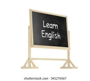 Learn English concept. Blackboard, chalkboard isolated on white