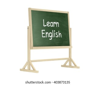 Learn English concept. Blackboard, chalkboard isolated on white. 3d rendering.