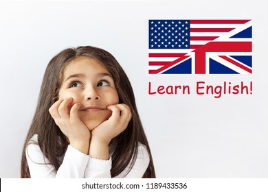 Learn English Language. Education Concept. Happy child girl face.