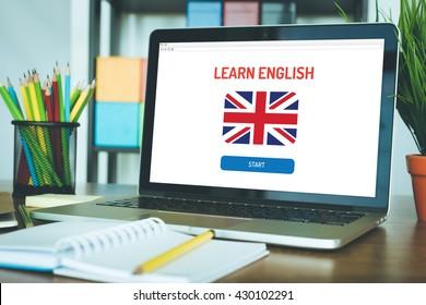 LEARN ENGLISH ONLINE EDUCATION LANGUAGE SCHOOL CONCEPT