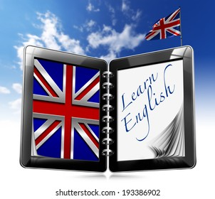 "Learn English - Tablet Computer / Black tablet computer with two pages and word ""learn english"" on display and british flag on a blue sky"