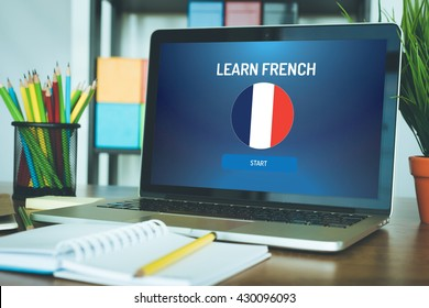 LEARN FRENCH EDUCATION COURSE LANGUAGE SCHOOL CONCEPT
