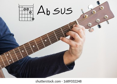 Learn Guitar - Man in a dark blue shirt playing guitar chords displayed on whiteboard, Chord Chord A flat sus (Ab sus)