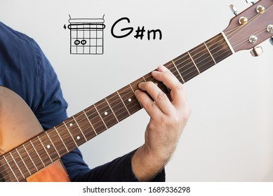 Learn Guitar - Man in a dark blue shirt playing guitar chords displayed on whiteboard, Chord G sharp minor (G#m)