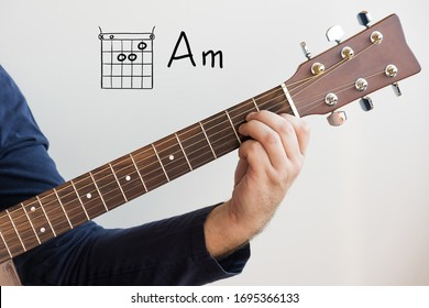 Learn Guitar - Man in a dark blue shirt playing guitar chords displayed on whiteboard, Chord A minor (Am)