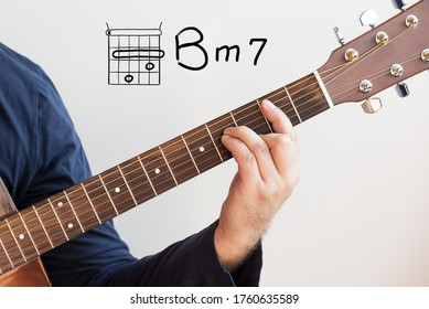 Learn Guitar - Man in a dark blue shirt playing guitar chords displayed on whiteboard, Chord B minor 7