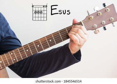 Learn Guitar - Man in a dark blue shirt playing guitar chords displayed on whiteboard, Chord E sus