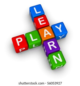 Learn and Play (colorful blocks on white background)