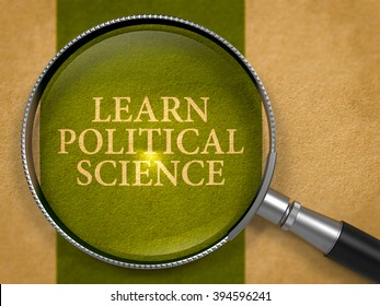 Learn Political Science Concept through Magnifier on Old Paper with Dark Green Vertical Line Background. 3D Render.