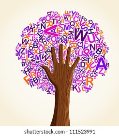 Learn to read at school education concept tree hand.